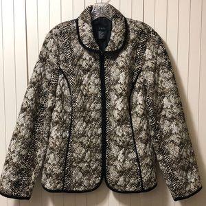 R-Q-T Lightweight Quilted Animal Print Zip Jacket